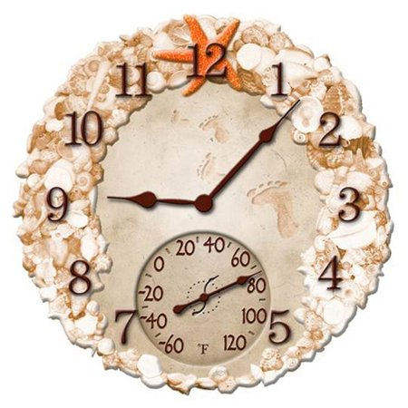 14 in. Seashells Clock & Thermometer, Product & user guide is included By Springfield Ship from (Shop Springfield Mall)