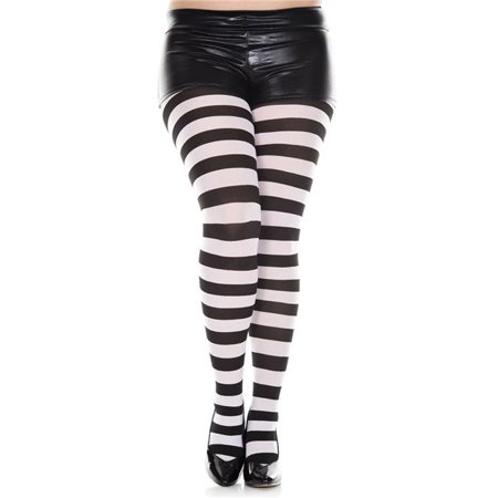 Music Legs 7419Q-BLACK-WHITE Plus Size Wide Striped Tights, Black & White (Black And Red Striped Tights)