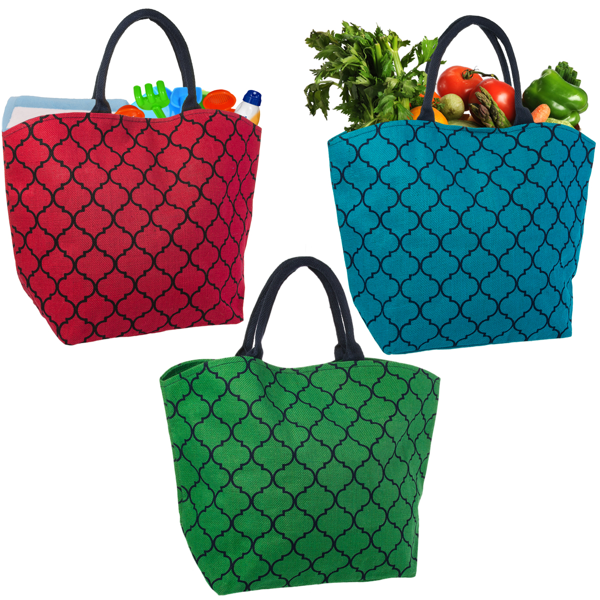 Set of 3 Reusable Shopping Bags Large Burlap Grocery Farmers Market Tote With Handles
