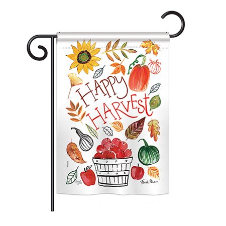 "Image of ""Breeze Decor - Happy Harvest Fall - Seasonal Harvest & Autumn Impressions Decorative Vertical Garden Flag 13"""" x 18.5"""" Printed In USA"""