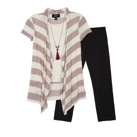Girl Striped Two-Piece Top and Legging Set