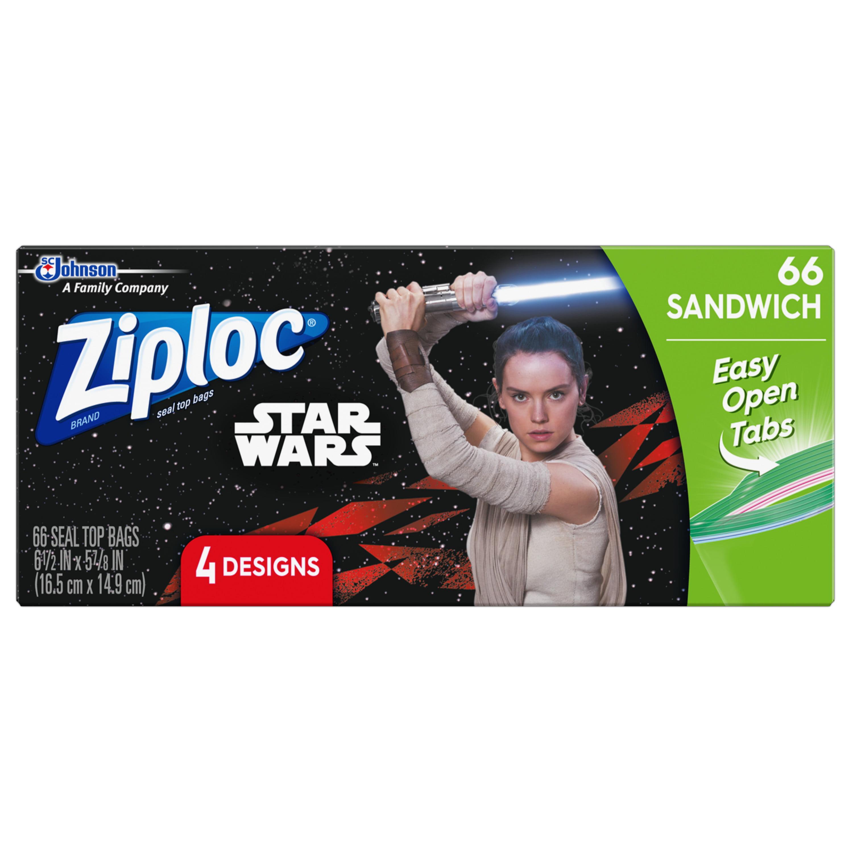 Ziploc Brand Sandwich Bags Featuring 4 Different Star Wars Designs, 66ct