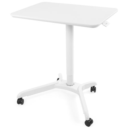 VIVO White Rolling Adjustable Trolley Presentation Cart | Tension Spring Sit-Stand Mobile Workstation (CART-V000HW) Mobile Workstation Cart