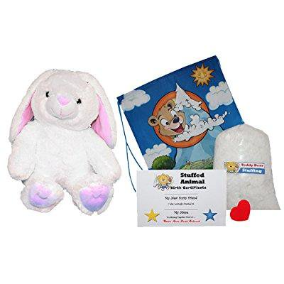 make your own stuffed animal cottonball the bunny - no sew - kit with cute backpack!