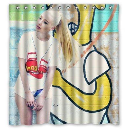 Deyou Sexy Singer Iggy Azalea Shower Curtain Polyester Fabric Bathroom Shower Curtain Size 66X72 Inches