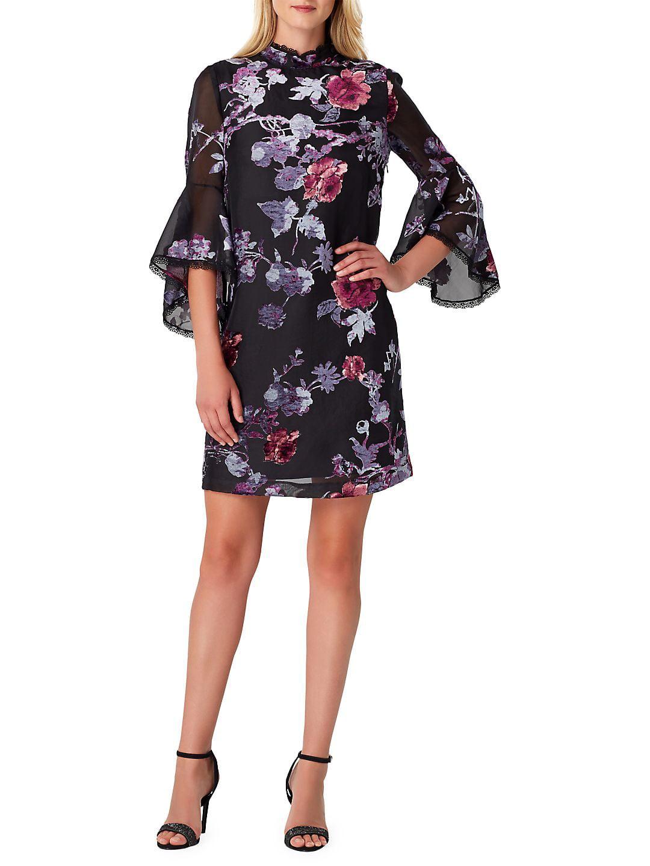 Petite Bell Sleeve Velvet Sheath Dress