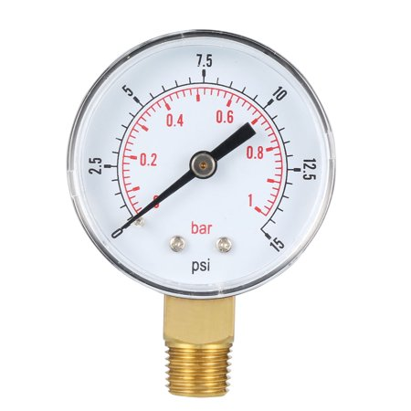 "Pressure Gauge , 0-15 PSI/0-1 Bar , 2"" Dial Display ,1/4"" BSPT Male Bottom Mount - image 4 of 4"