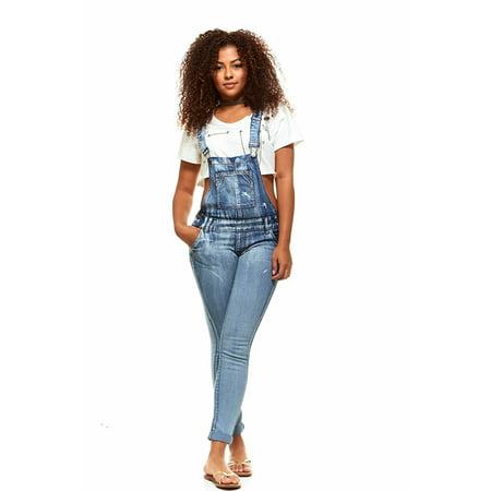 c316fc562bd V.I.P.JEANS - V.I.P.JEANS Casual Blue Jean Bib Strap Pocket Overalls For  Women Ankle Length Slim Fit Junior Sizes Wash Choices - Walmart.com