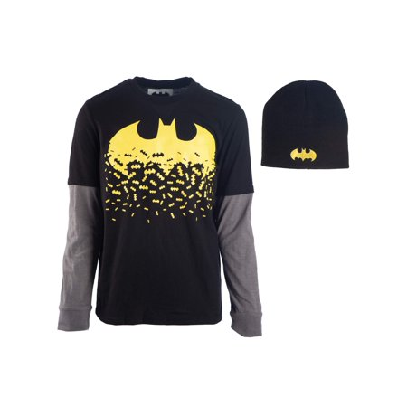 Batman Dissolving Logo Long Sleeve Twofer Tee with Matching Beanie (Little Boys & Big - Batman Merchandise For Kids