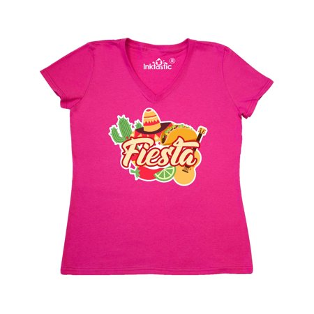 Fiesta with Sombrero Taco Cactus Lime Red Pepper and Guitar in Women's V-Neck T-Shirt for $<!---->