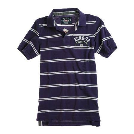 Ss Stripe Polo - Ecko Unltd. Mens Ss Left Chest Stripe Rugby Polo Shirt