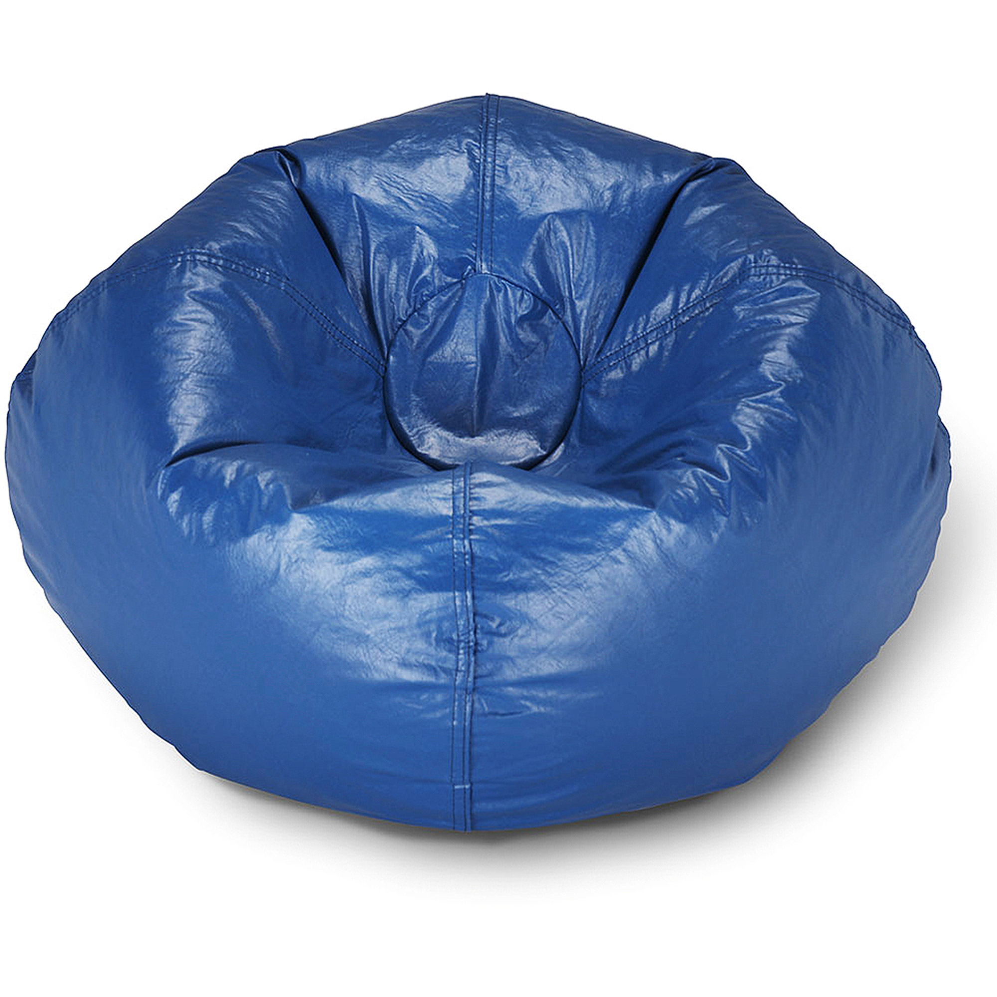 96 Round Vinyl Shiny Bean Bag Blue