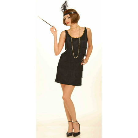 Womens Black Flapper Halloween Costume (Black Man White Woman Halloween Costumes)