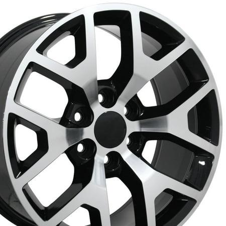 OE Wheels 22 Inch | Fits Chevy Silverado Tahoe GMC Sierra Yukon Cadillac Escalade | CV92 Black Machined 22x9 Rim | Hollander 5656 2000 Cadillac Escalade Wheel