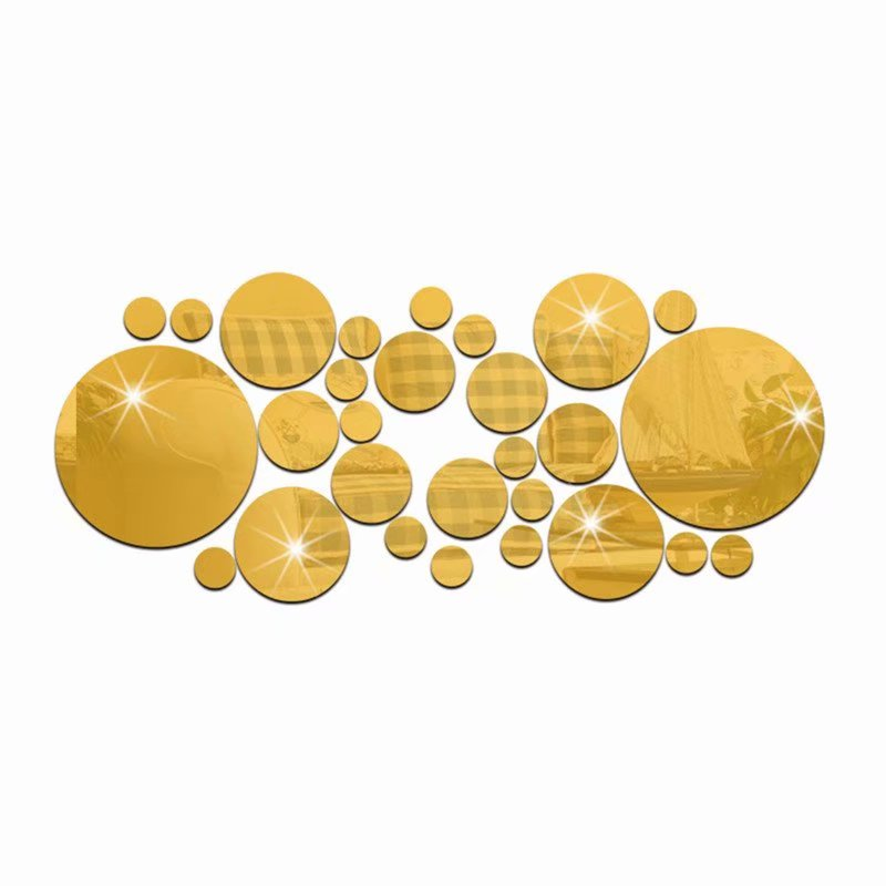 Akoyovwerve 30Pcs/Set 3D Modern Mirror Wall Stickers Gold Acrylic DIY Mural Decal Home Living Room Bedroom Art Decor Removable
