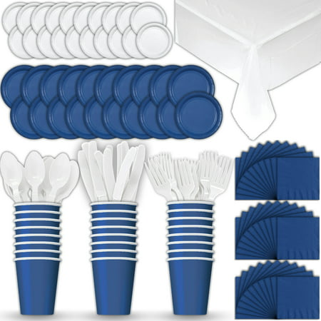 Paper Tableware Set for 24 - Blue & White - Dinner and Dessert Plates, Cups, Napkins, Cutlery (Spoons, Forks, Knives), and Tablecloths - Full Two-Tone Party Supplies Pack