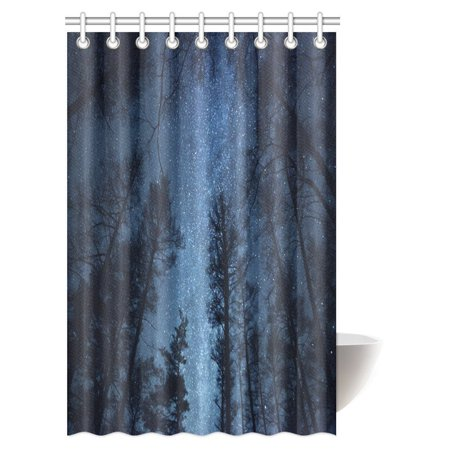 Mypop Beautiful Night Sky Shower Curtain Forest Dry Tree Branches Starry Stars Dawn Winter