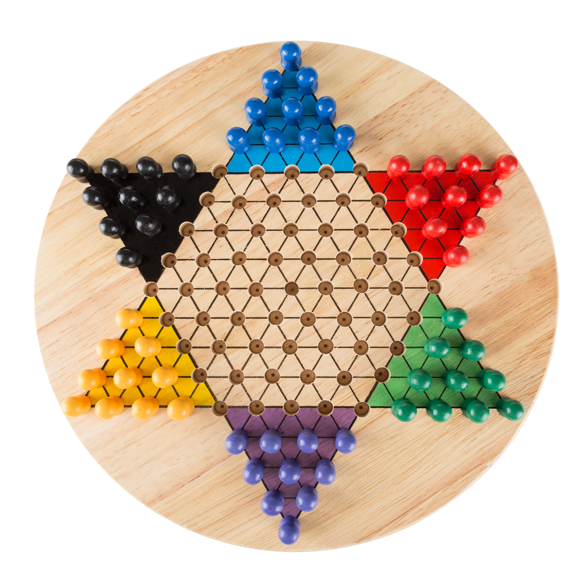 Chinese Checkers Game Set with 11 inch Wooden Board and Traditional Pegs, Game for Adults,... by Trademark Global