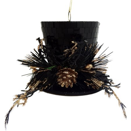 Christmas Top Hat Ornaments.Holiday Time Christmas Ornaments 4 Piece Gold Black Mirror Top Hat Ornament