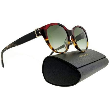 Burberry  Women's BE4242F 36358E 55 Red Havana/Havana Plastic Round Sunglasses - Green