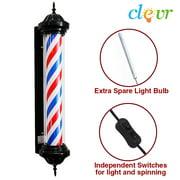 "Clevr Barbershop Barber Pole Globe Lamp USA Stripes Spinning Man Cave Sign, 34"" or 41"""