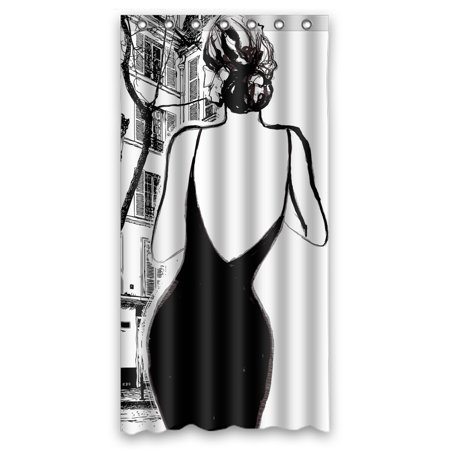 YKCG Black And White Paris Street Elegant Woman Shower Curtain Waterproof Fabric Bathroom 36x72 Inches