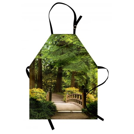Japanese Apron Wooden Bridge over Pond in Garden Calmness in Shadow of Trees Serenity in Nature, Unisex Kitchen Bib Apron with Adjustable Neck for Cooking Baking Gardening, Green Brown, by (Bridge Over Pond)
