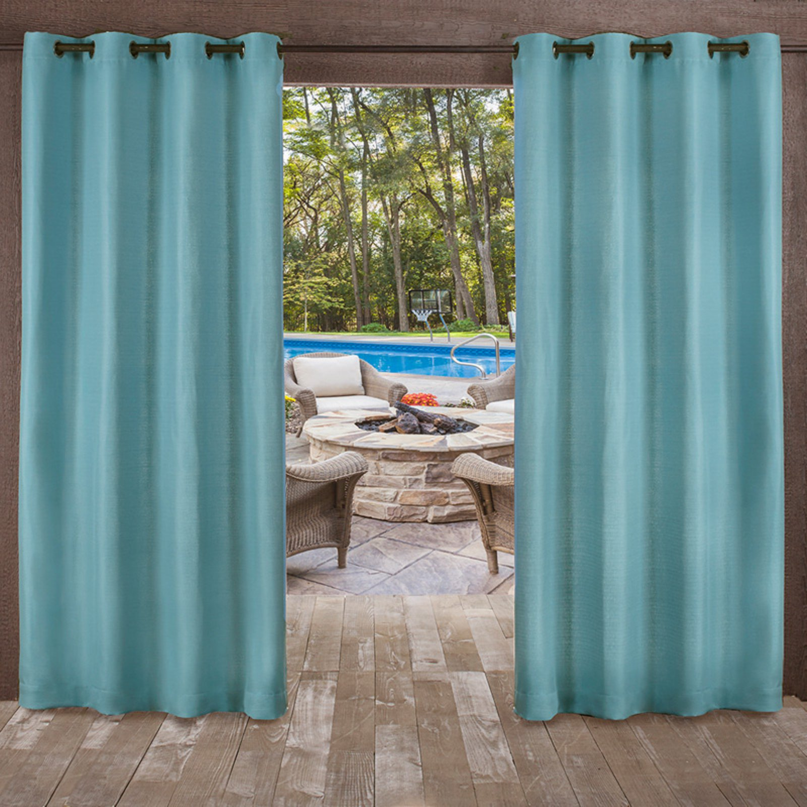 Exclusive Home Curtains 2 Pack Delano Heavyweight Textured Indoor/Outdoor Grommet Top Curtain Panels