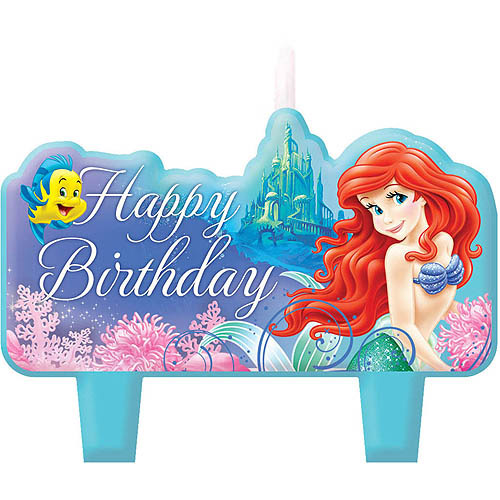 Disney Little Mermaid Sparkle Candles, 4-Pack