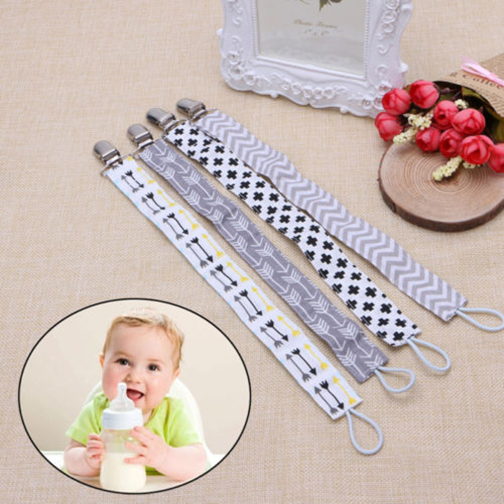 Girl12Queen Feather Arrow Stripe Baby Pacifier Clip Dummy Chain Nipple Leash Strap Holder
