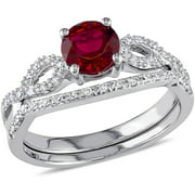 1 Carat T.G.W. Created Ruby with 1/6 Carat T.W. Diamond 10kt White Gold Infinity Design Bridal Set