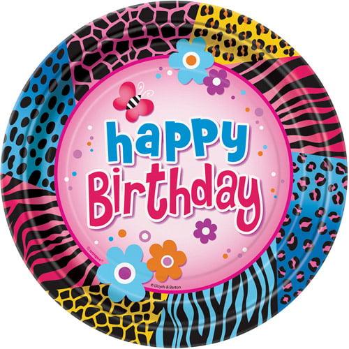 "9"" Wild Birthday Party Plates, 8ct"