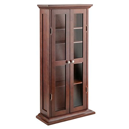 Winsome Wood CD/DVD Cabinet with Glass Doors, Antique Walnut ()