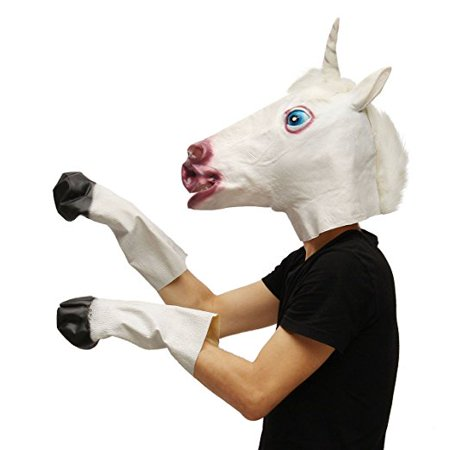 Latex Unicorn Head Mask Hooves Gloves Set for Cosplay Halloween Ball Parties (Halloween Wolf Mask And Gloves)