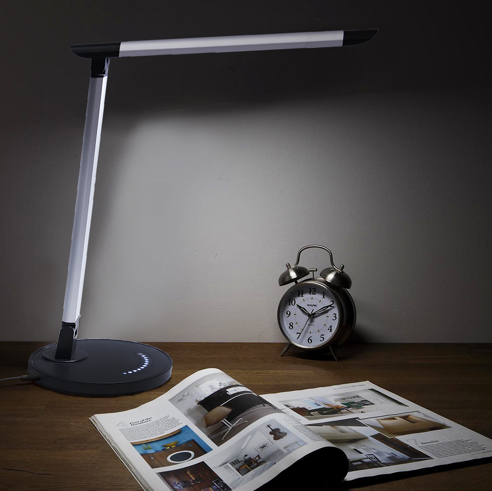 Clevr Dimmable LED Table Desk Lamp, Adjustable Touch Activated Night Light Gray