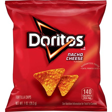 Doritos Tortilla Chips, Nacho Cheese, 1 oz Bags, 40 Count