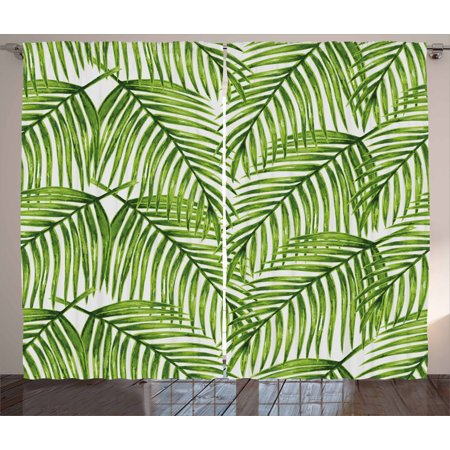 Jungle Themed Curtains (Plant Curtains 2 Panels Set, Fascinating Leaves on Branches Exotic Setting Floral Arrangement Jungle Themed Greens, Window Drapes for Living Room Bedroom, 108W X 108L Inches, Fern Green, by)
