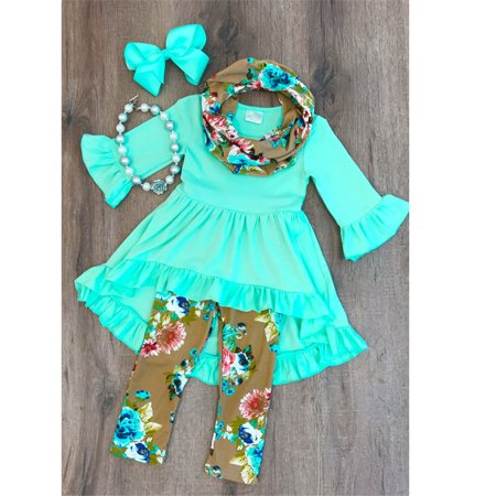 Boutique Toddler Kids Baby Girl Flower Top Dress Pants Legging Outfit (Boutique Clothing Children's)