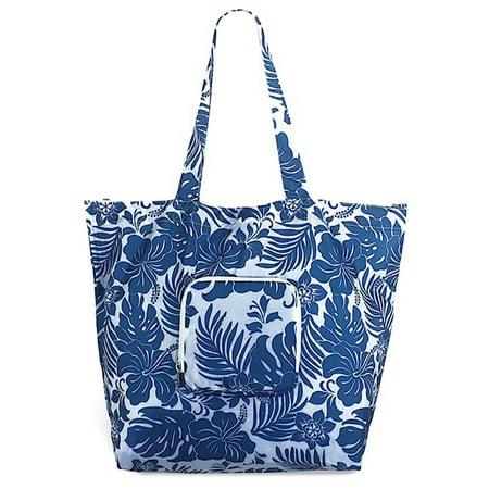 Hawaiian Tote (Hawaiian Deluxe Foldable Travel Tote Bag Hibiscus Floral)