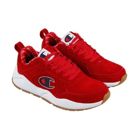 Champion 93 Eighteen Big Mens Red Suede Athletic Lace Up Training Shoes ()