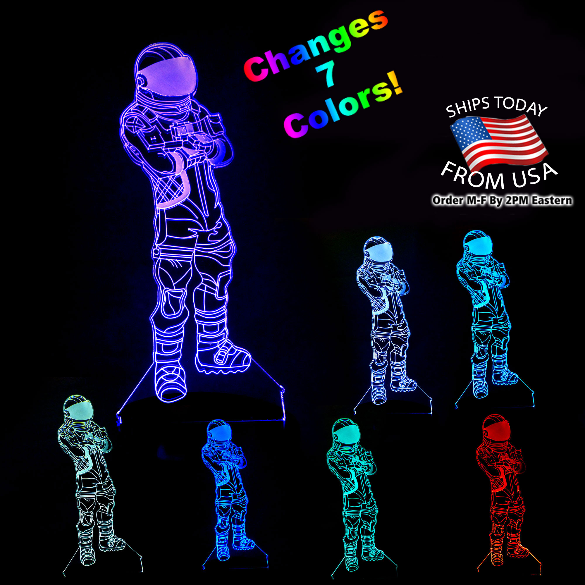 - 3D LED Fortnite Astronaut Lamp 7 Color Changing Light With FREE