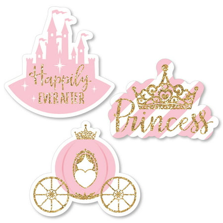 Little Princess Crown - Shaped Pink and Gold Princess Baby Shower or Birthday Party Cut-Outs - 24 Count - Baby Princess Party Supplies
