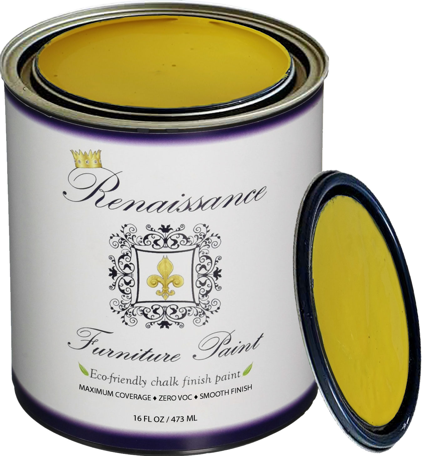 Renaissance Chalk Finish Paint - Lemon Pint (16oz) - Chalk Furniture & Cabinet Paint - Non Toxic, Eco-Friendly, Superior Coverage