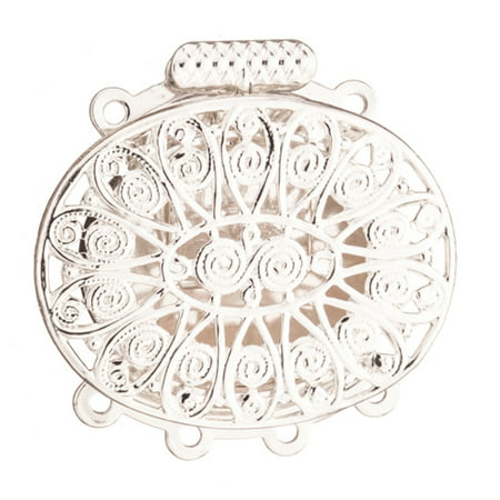 Oval Filigree 4 Strand Box Clasp Silver Plated Brass 26x26mm Sold per pkg of 1