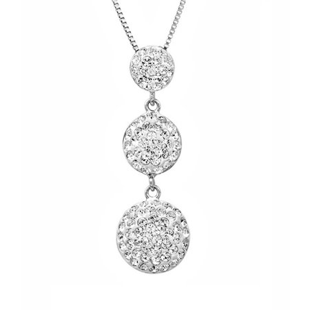 Sterling Silver Three Stone Look Pendant Necklace made with Swarovski Crystals ()