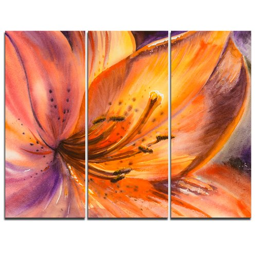 Design Art Orange Lily Flower - 3 Piece Graphic Art on Wrapped Canvas Set