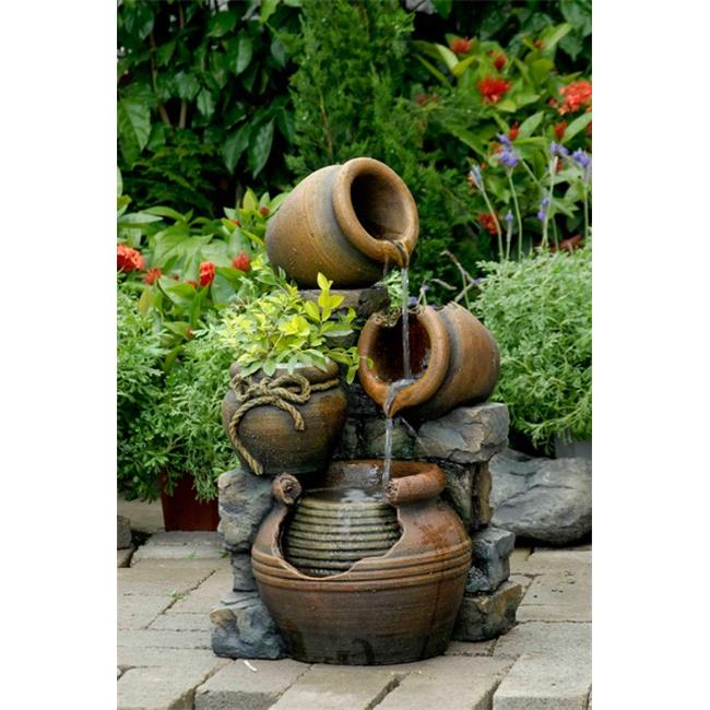 Jeco FCL055 Multi Pots Outdoor Water Fountain With Flower Pot
