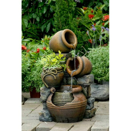 Jeco FCL055 Multi Pots Outdoor Water Fountain With Flower - Designers Fountain Post