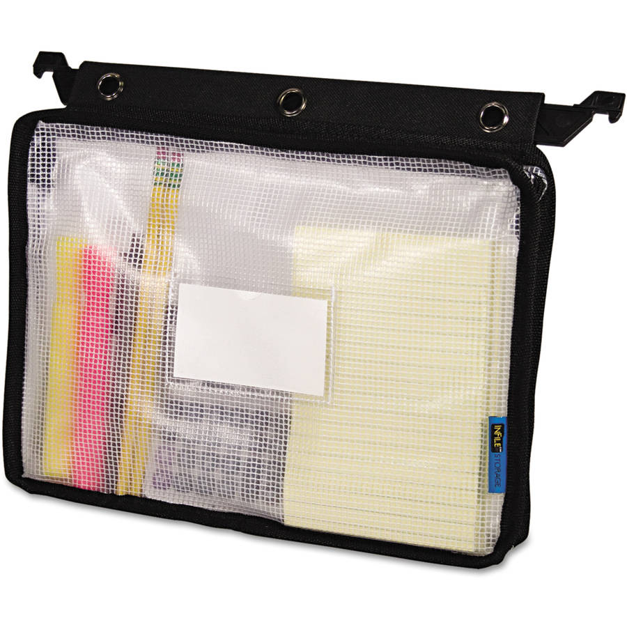 Advantus Expanding Zipper Pouch, Clear/Black