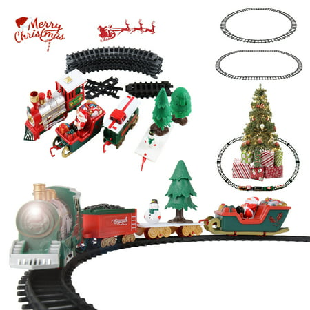 Toy Train Set for Kids, Battery Operated Train with Sounds and Lights, Santa Claus Christmas Holiday Train for Under The Tree, Great Gift Idea for Boys Girls Toddlers ()
